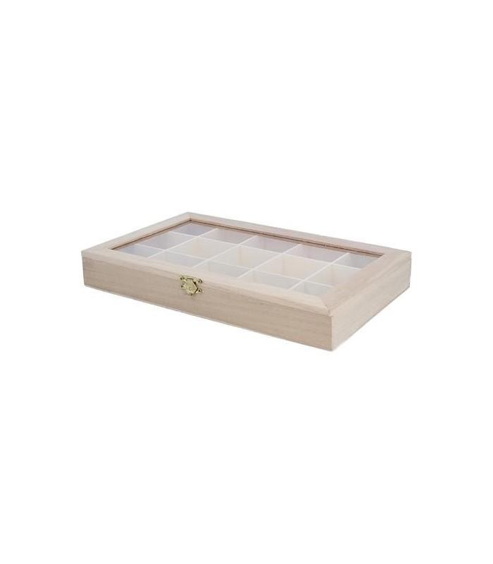 Caja de madera 30x19x4 cm con vitrina expositor de