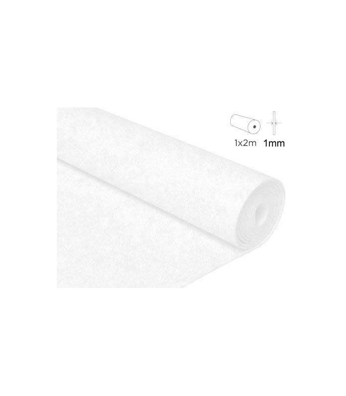 2 mts fieltro 1mm grosor Blanco