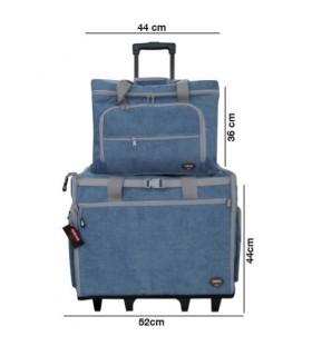 Maleta trolley azul para máquina de coser