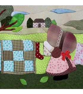 Set de patchwork sin aguja Sunbonnet Bonito día