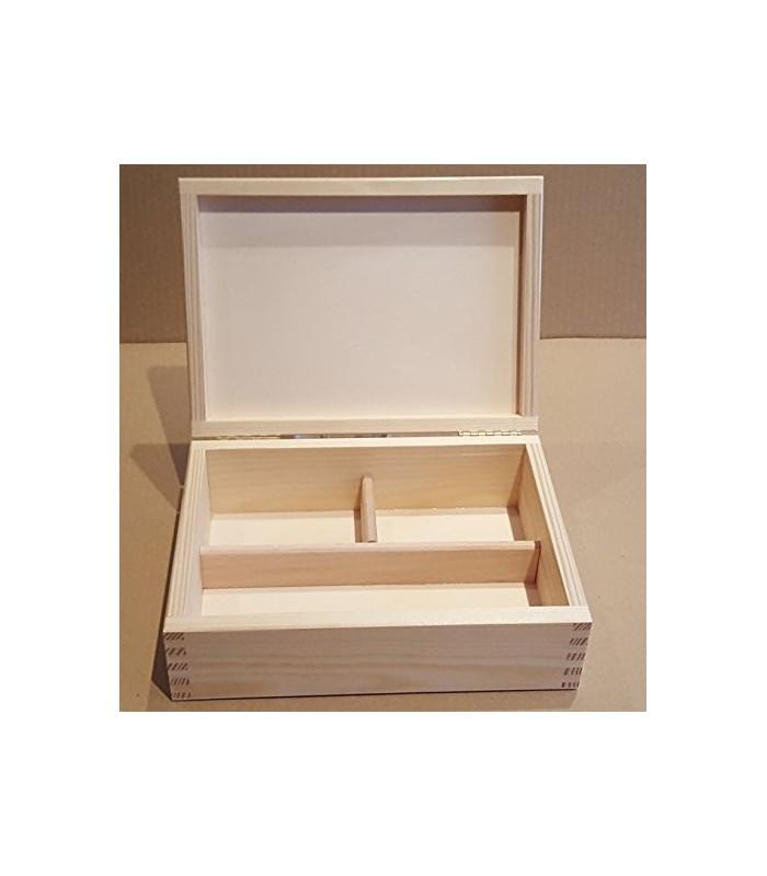 Caja de madera con departamentos para decorar - Decorar cajas de madera con servilletas ...