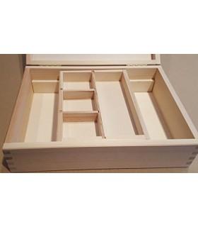 Caja de madera con bandeja deslizante y departamentos