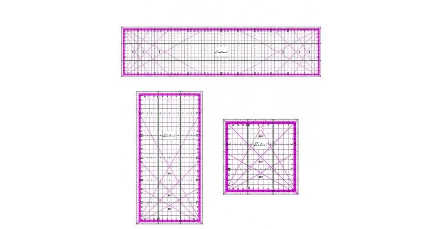 Regla para patchwork color rosa Kadusi