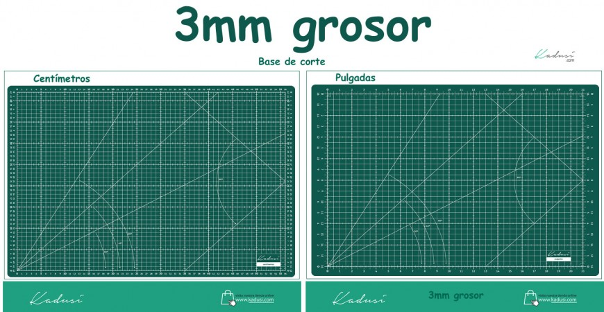 Base de corte 3mm grosor KADUSI cm/pulgadas